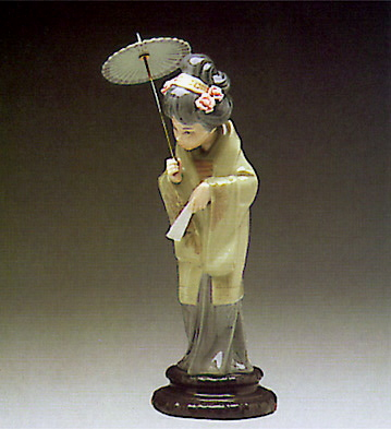 Lladro Figurine Of Porcelain Japanese With Parasol Cocowif